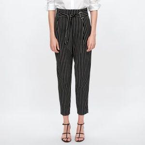 NWT Zara Size S Stripped High Waist Pants